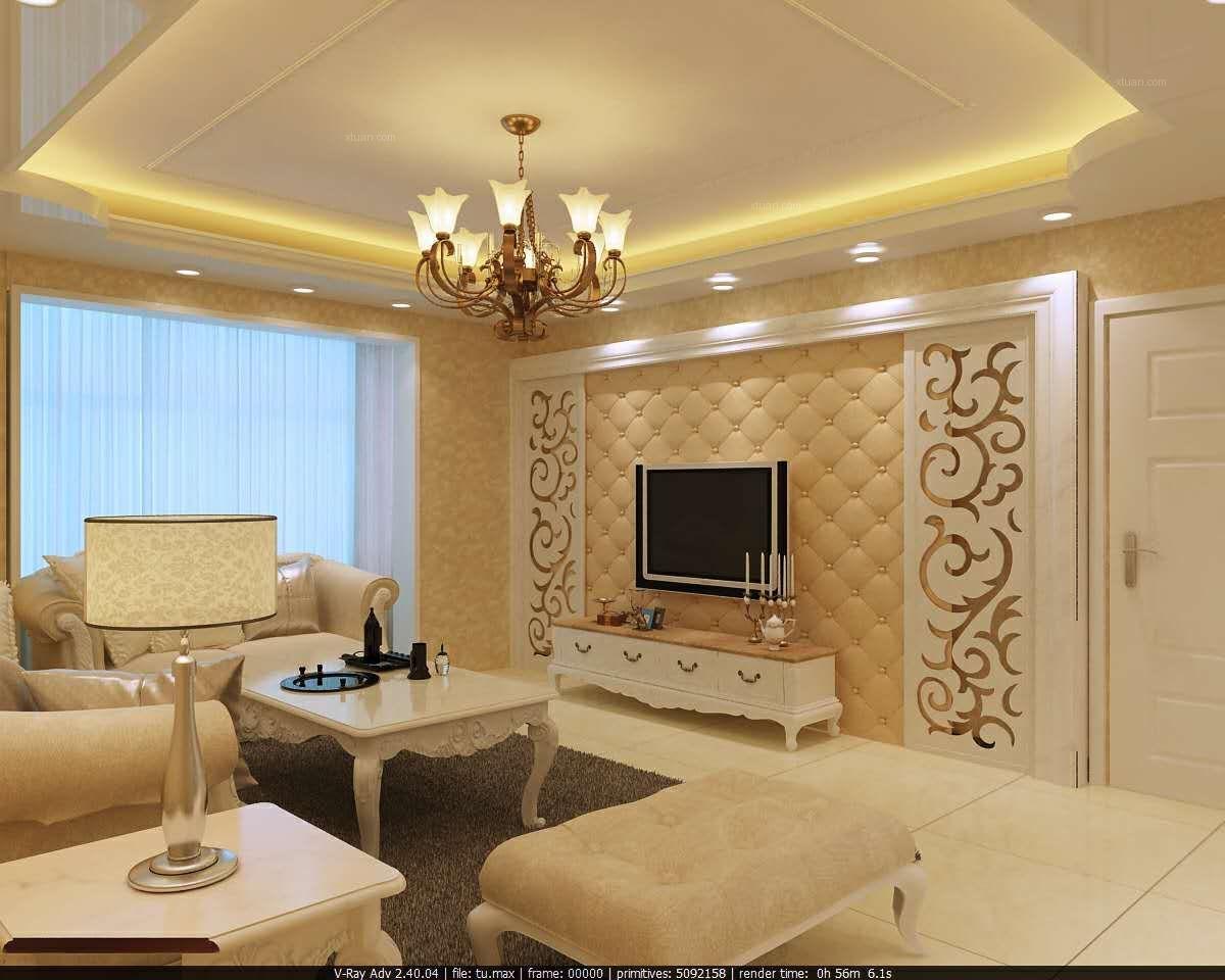两室两厅欧式风格客厅电视背景墙