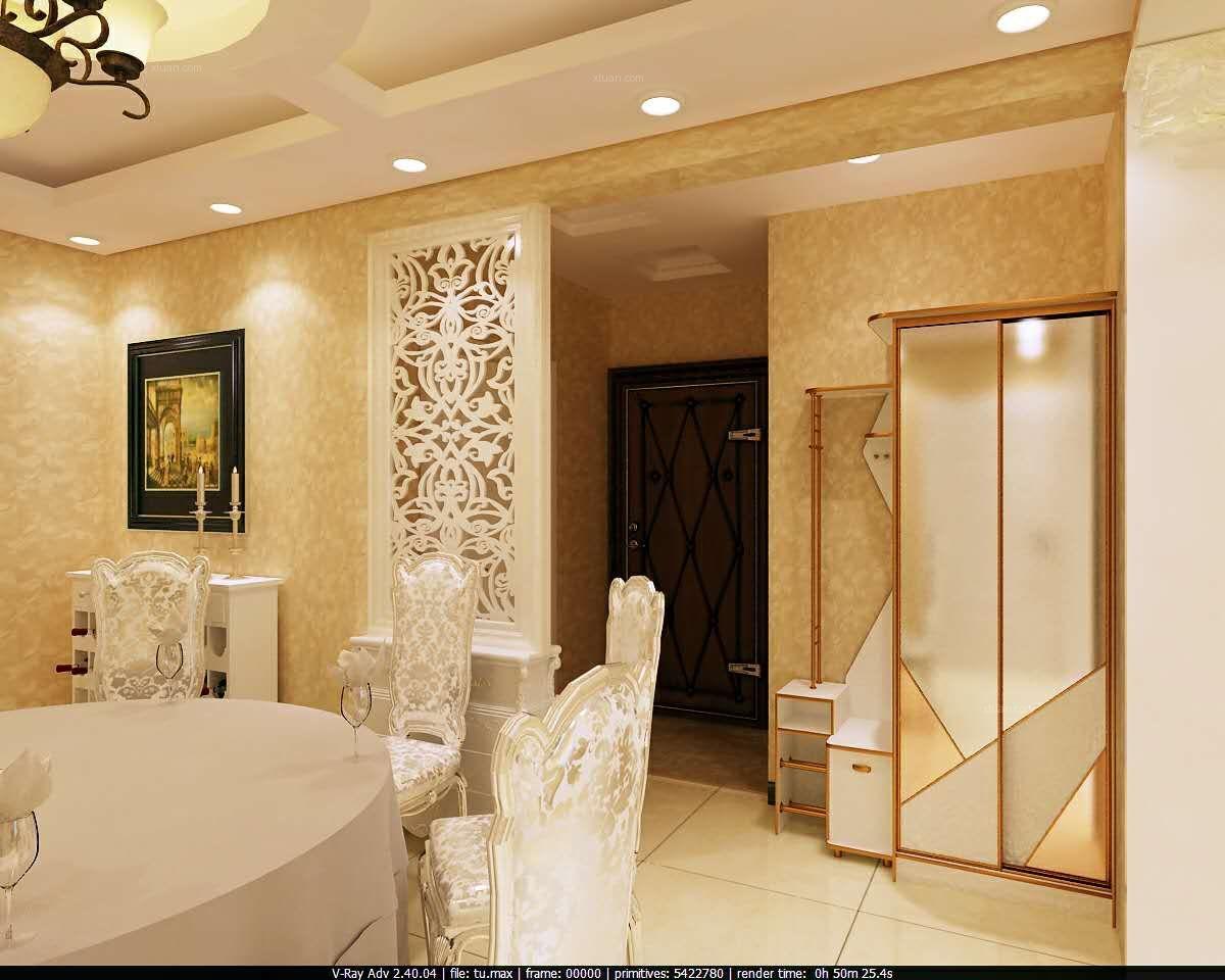 两室两厅欧式风格玄关客厅隔断