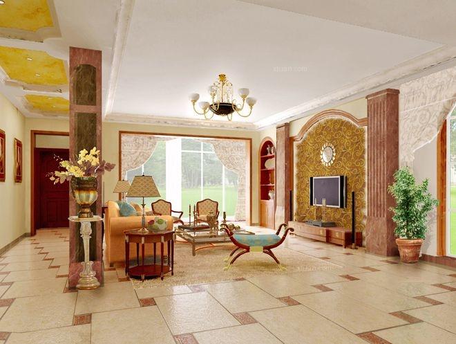 别墅田园风格客厅电视背景墙