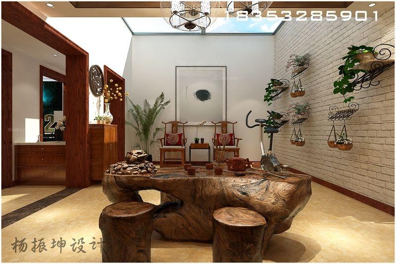 别墅中式风格休闲区地台图片