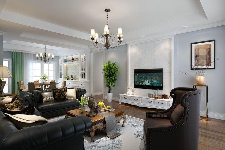 四居室美式风格客厅电视背景墙图片