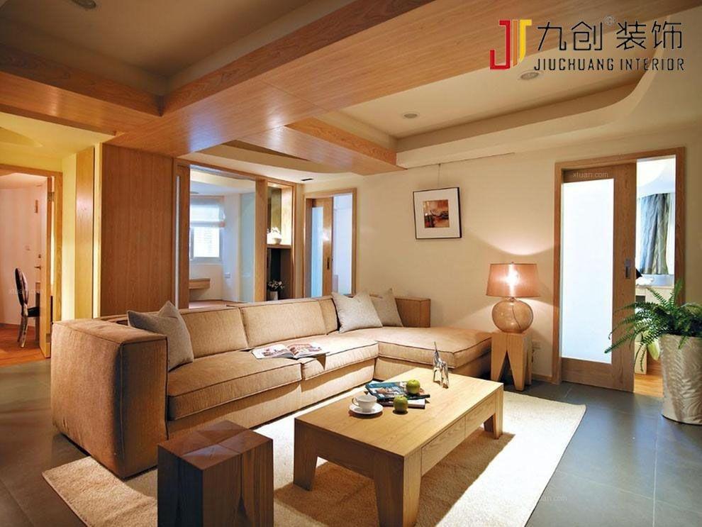 两居室日式风格客厅沙发背景墙