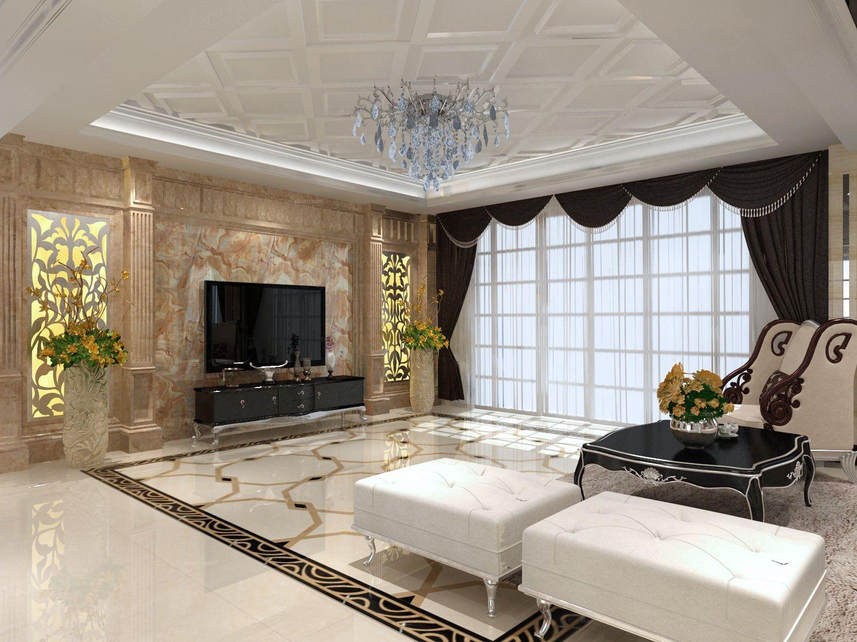 四居室欧式风格客厅电视背景墙图片