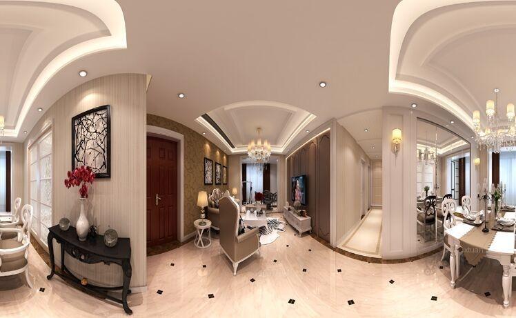 三居室欧式风格客厅_温馨时尚轻奢居装修效果图-x团图片