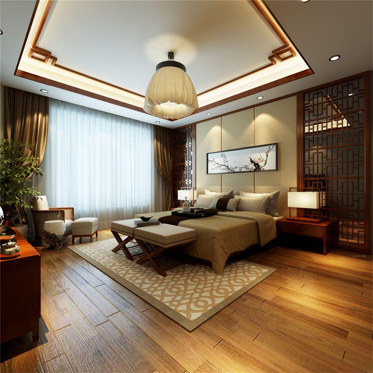别墅中式风格卧室_保利天鹅语别墅新中式风格设计装修