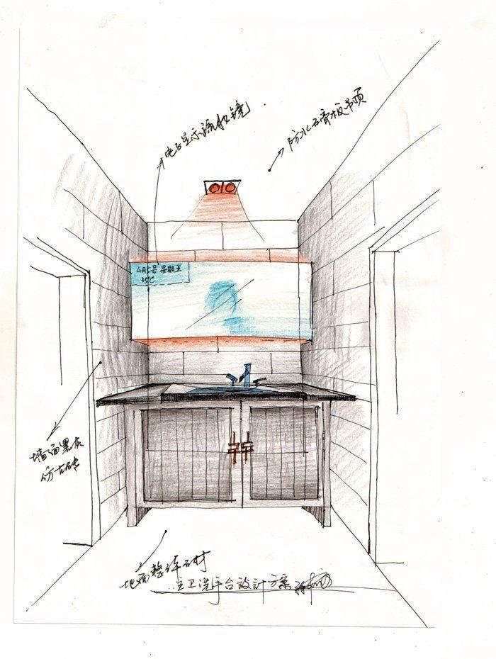 室内厕所手绘线稿