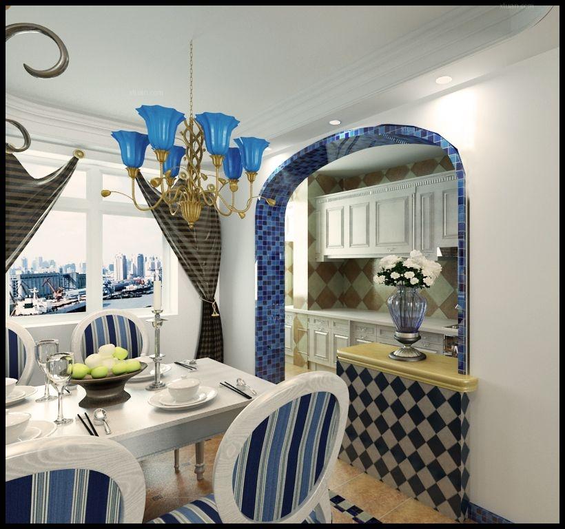 三居室地中海风格餐厅软装
