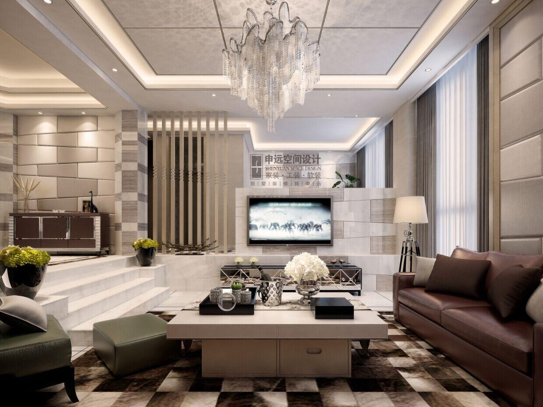别墅现代简约客厅软装图片