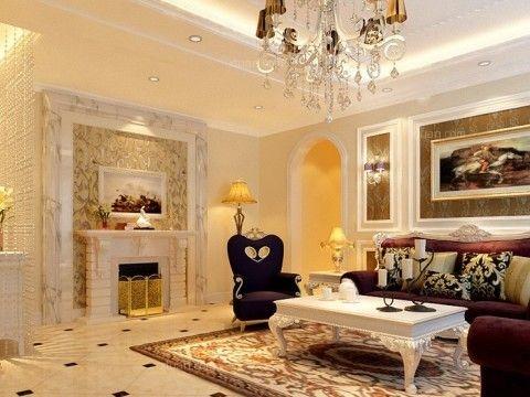 两居室欧式风格客厅沙发背景墙