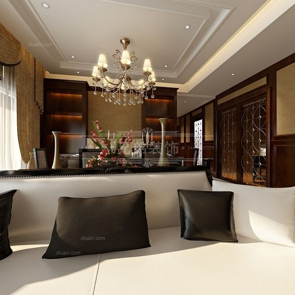 重庆天地雍江御庭大平层新古典风格装修设计方案效果图