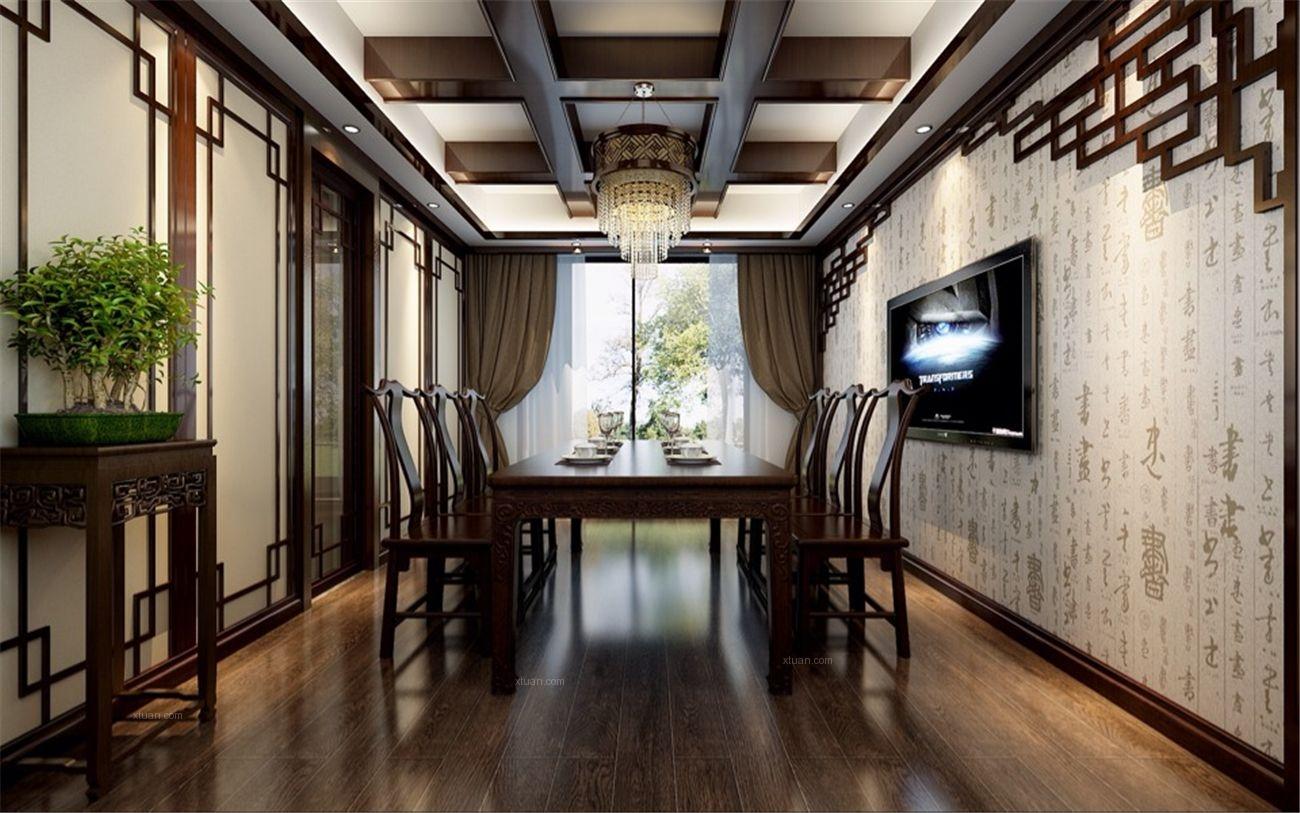 别墅中式风格书房_曹安景林苑别墅新中式设计装修效果图片