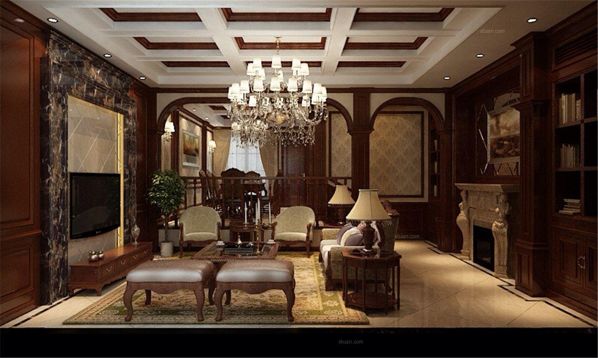 别墅乡村风格客厅_长泰东郊御园别墅美式风格设计装修