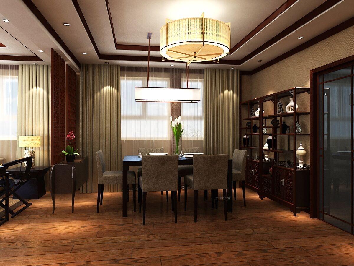 别墅中式风格餐厅_金屋秦皇半岛一区别墅装修效果图-x图片