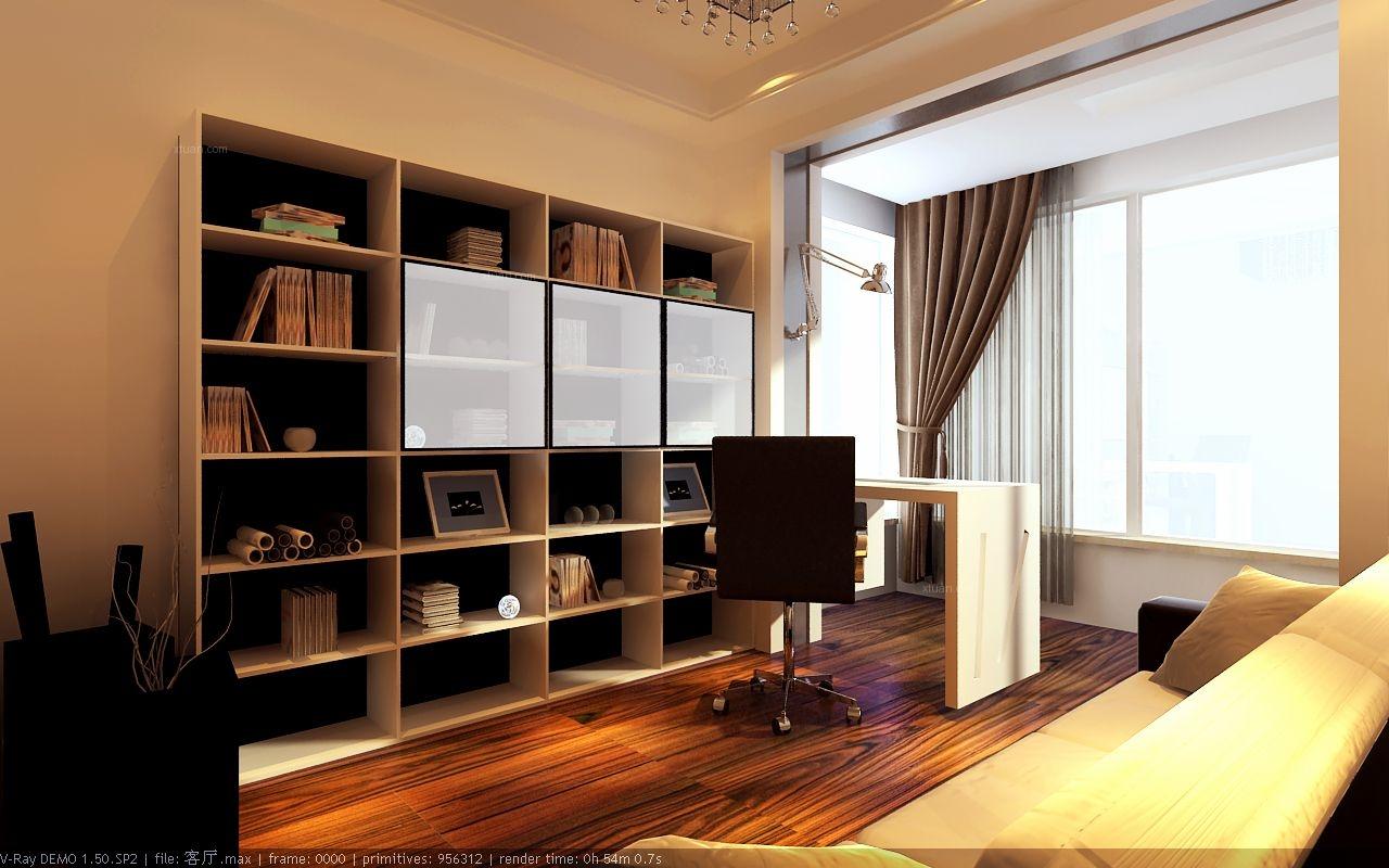 三居室现代简约书房地台