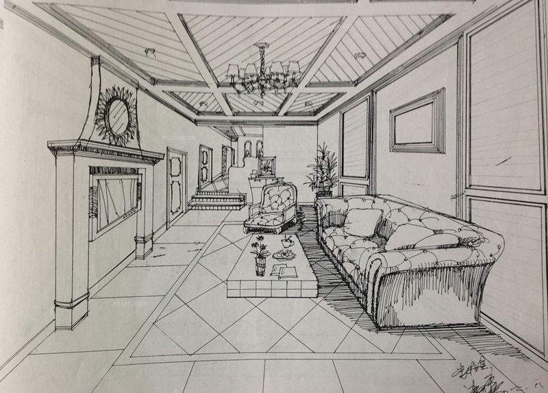客厅步骤线稿图