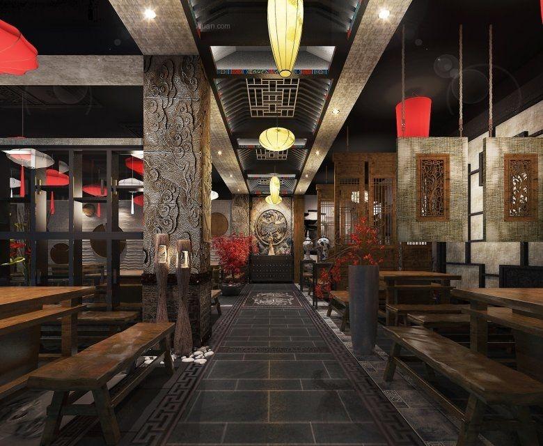 中式风格餐馆_川西坝子火锅店装修效果图-x团装修网图片