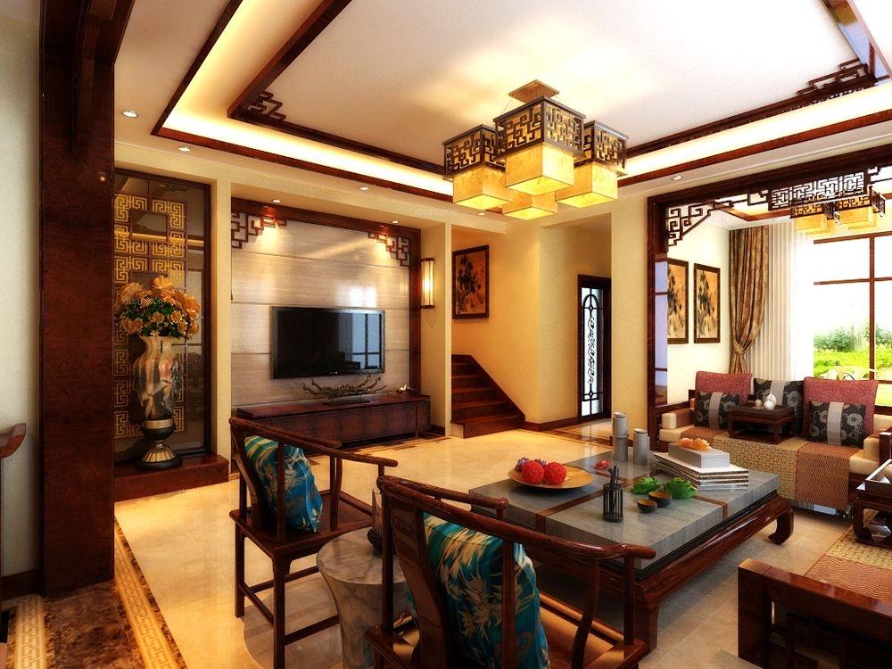 复式楼中式风格客厅图片