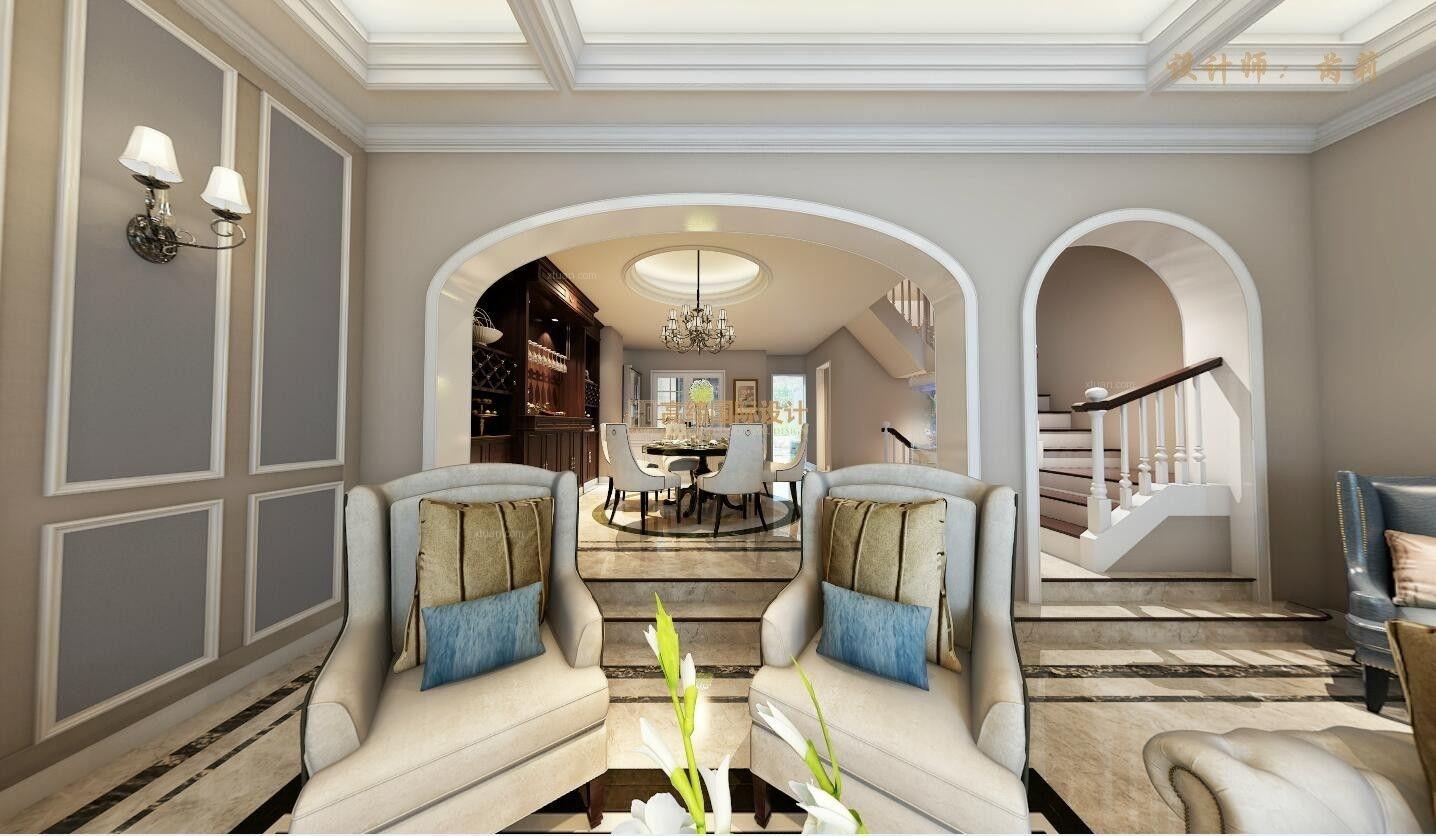 別墅美式風格客廳沙發背景墻