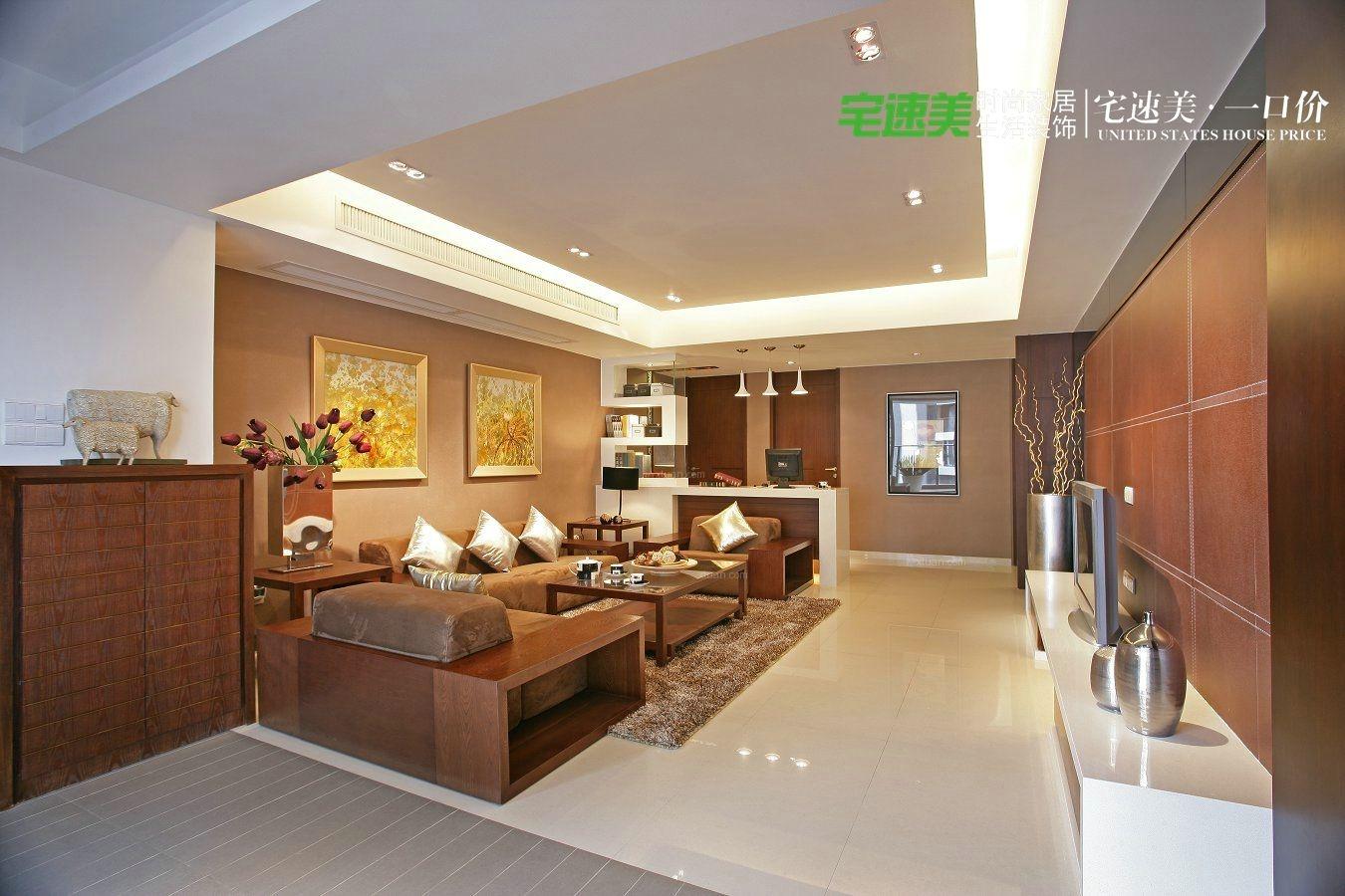 四居室中式风格客厅墙绘