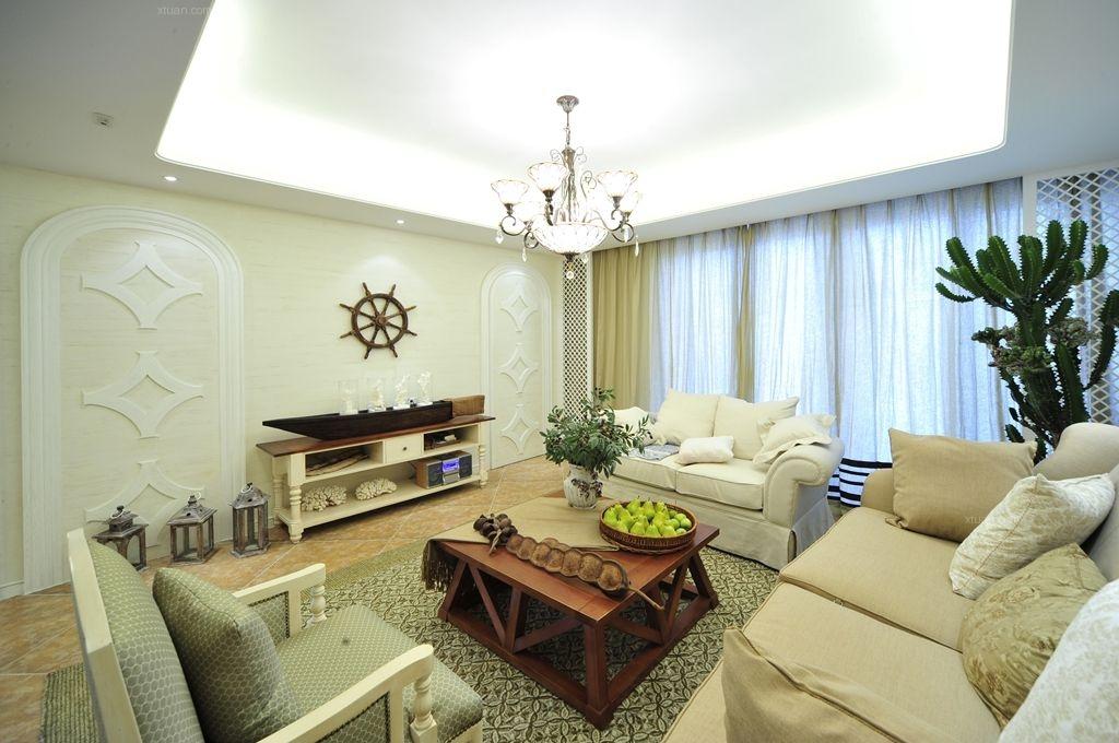 四居室地中海风格客厅