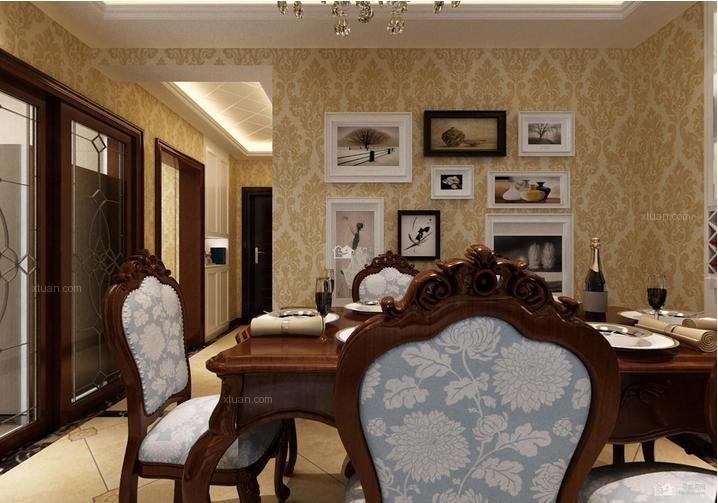 三居室现代简约餐厅照片墙