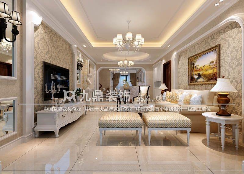 四居室简欧风格客厅_福满园楼中楼装修效果图图片