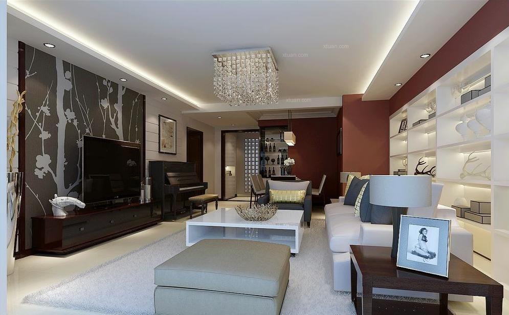三居室混搭风格客厅软装