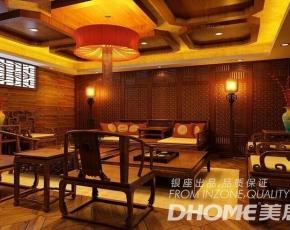 济南盛华山庄300平别墅中式风格装修设计案例