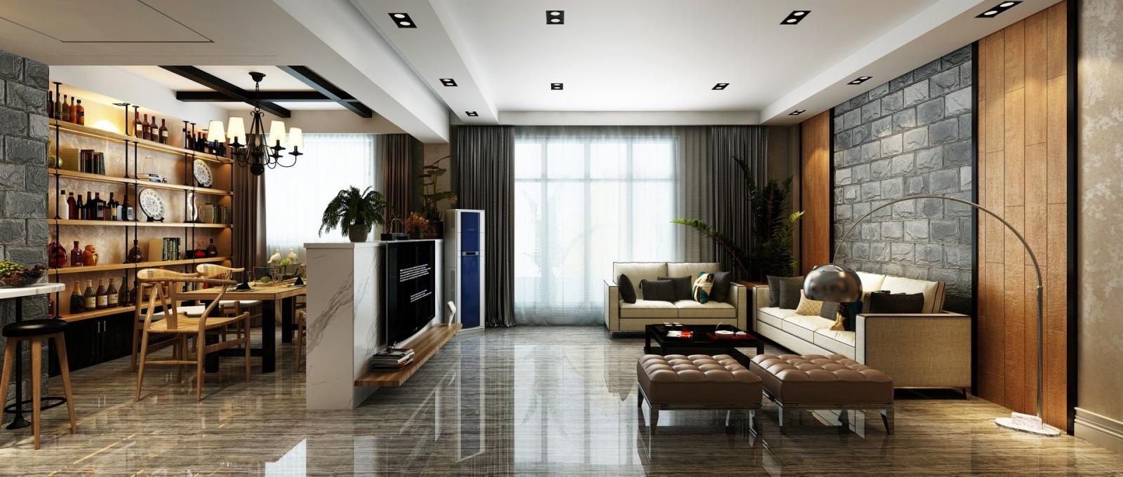 复式楼混搭风格客厅电视背景墙图片