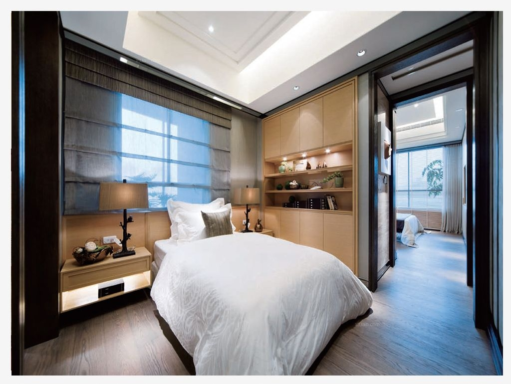 三居室现代风格卧室卧室背景墙