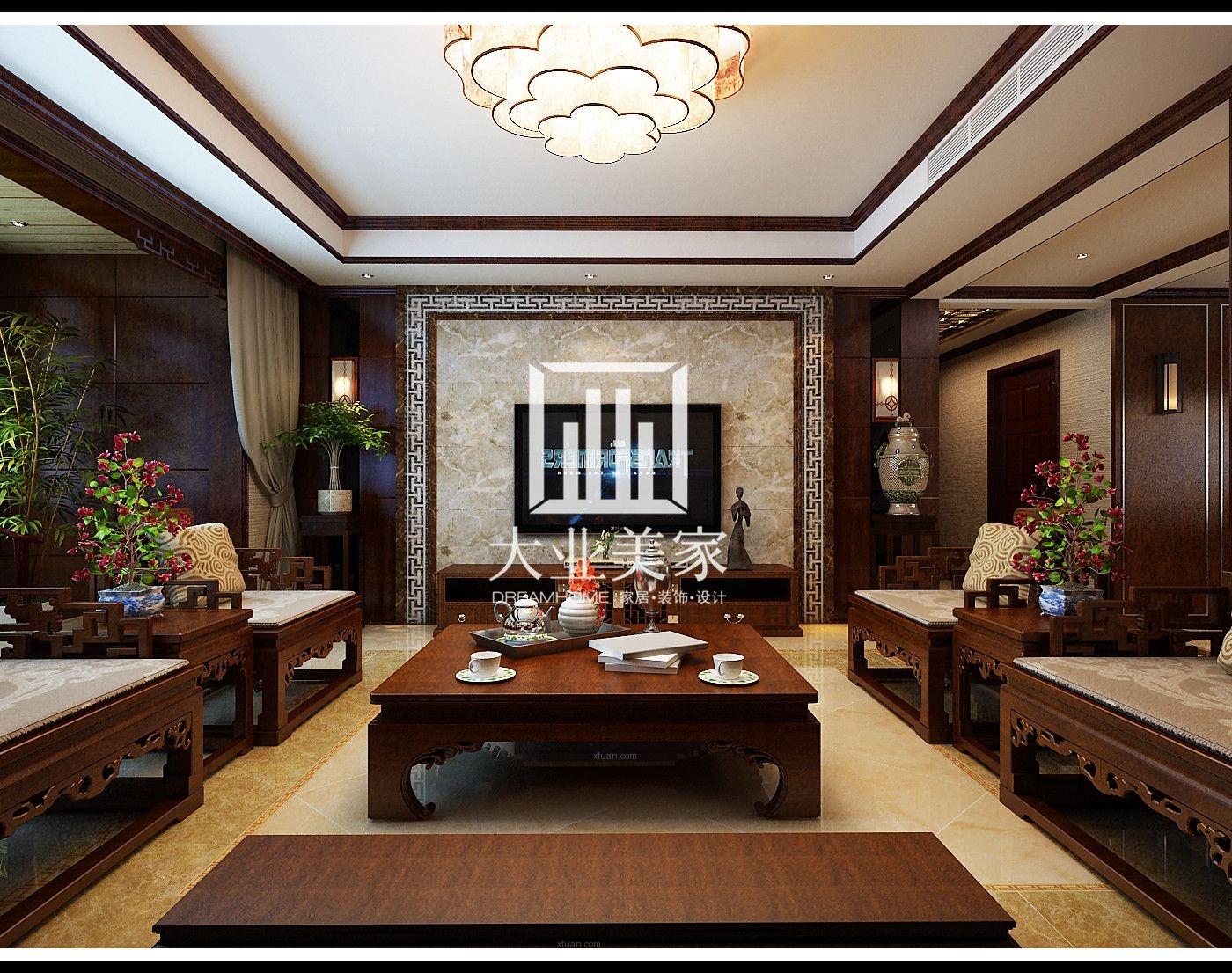 中式电视背景墙效果图_中式客厅电视背景墙效果图-