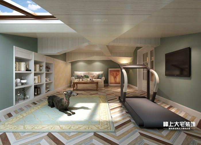 别墅地下室_美洲故事-现代美式装修效果图-x团装修网图片