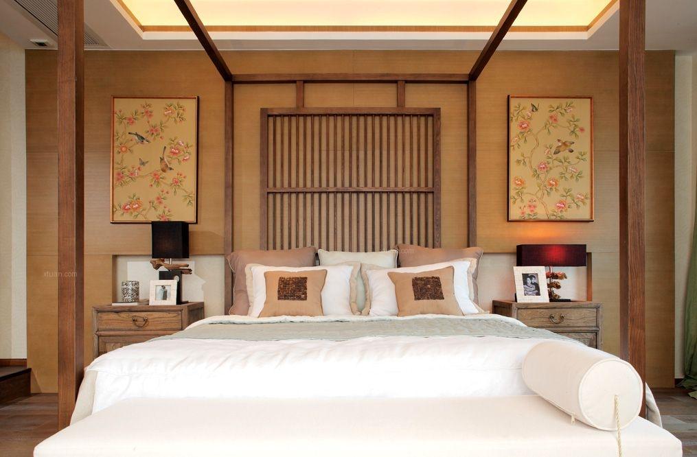 别墅东南亚风格卧室 万科棠樾别墅装修效果图