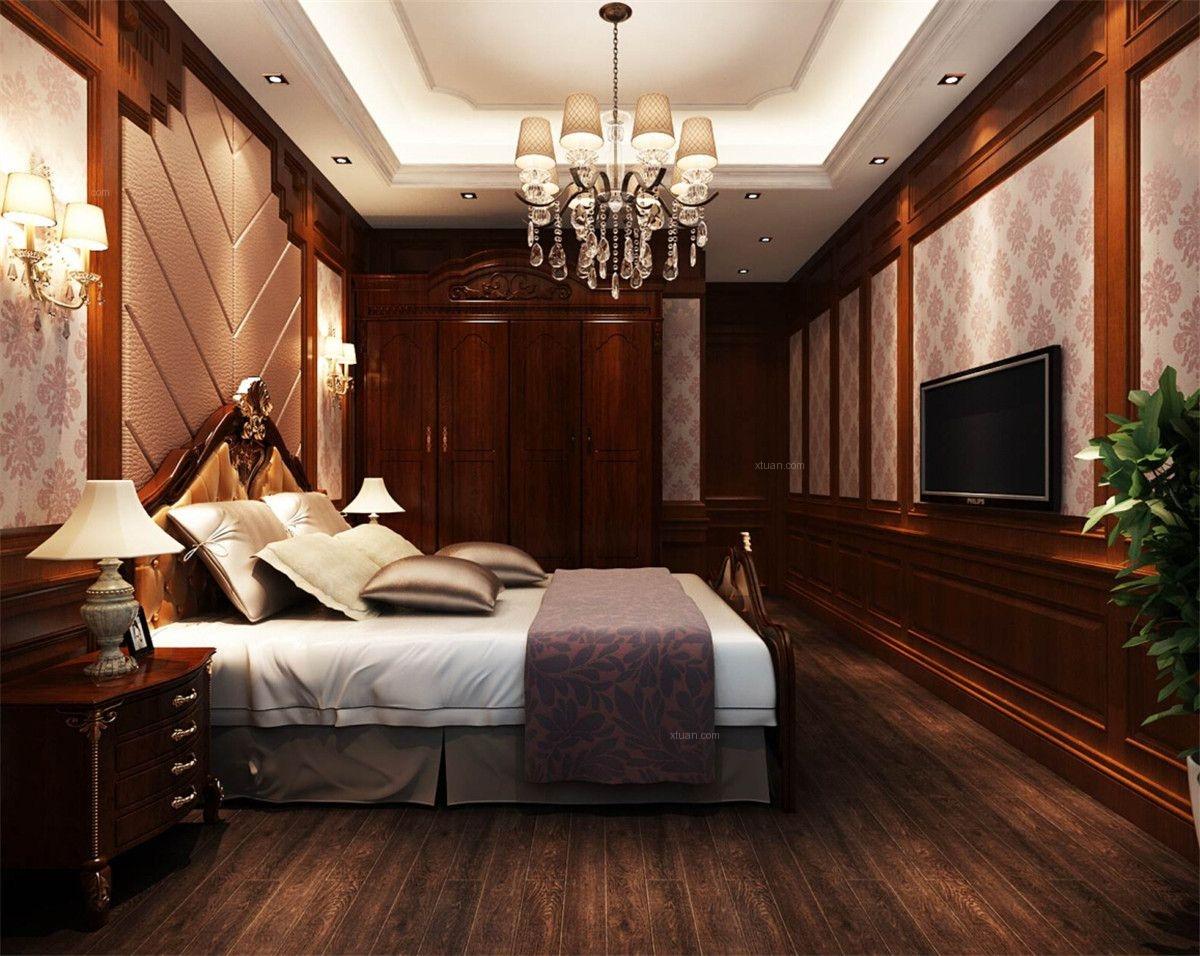 别墅美式风格卧室卧室背景墙图片