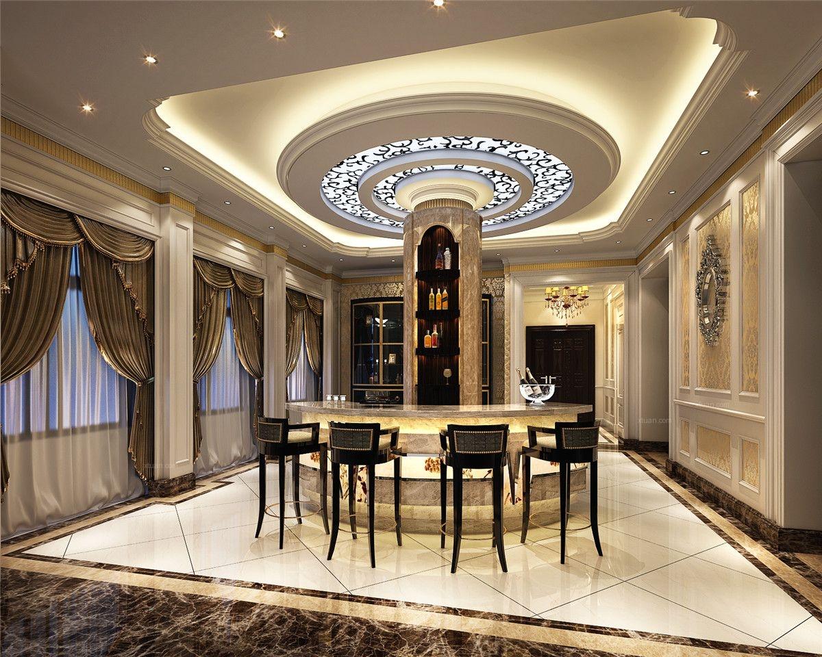别墅欧式风格餐厅圆形吊顶_新天鸿高尔夫别墅欧式风格