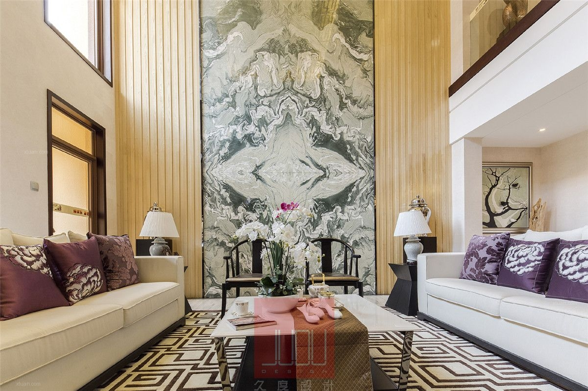 别墅中式风格客厅_颖奕博园别墅新中式风格设计装修