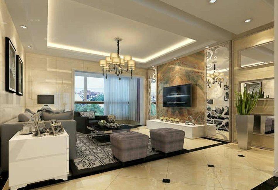 三室两厅现代简约客厅电视背景墙