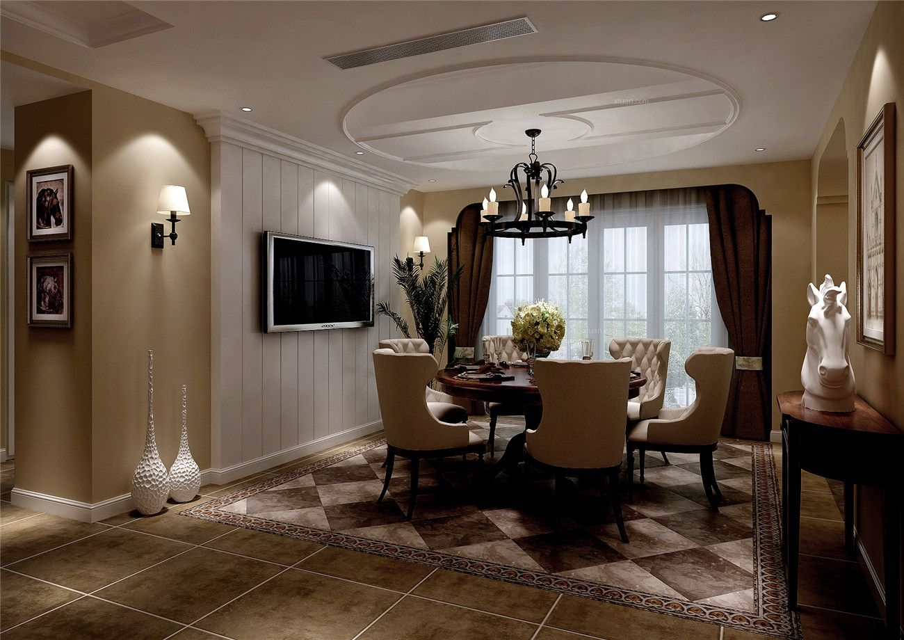 别墅美式风格客厅_世茂佘山里别墅美式风格设计装修图