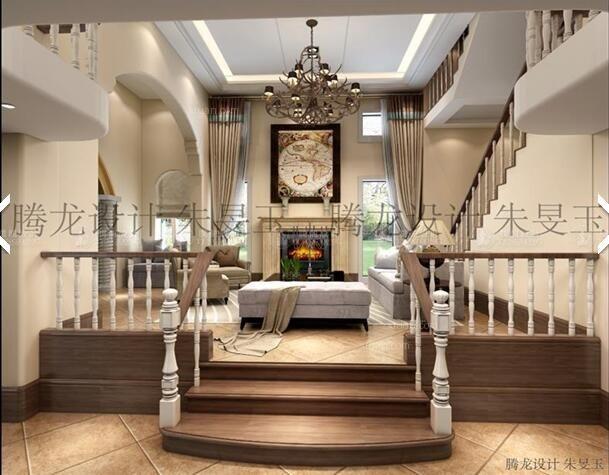 别墅美式风格客厅_富力湾别墅美式风格设计装修效果图