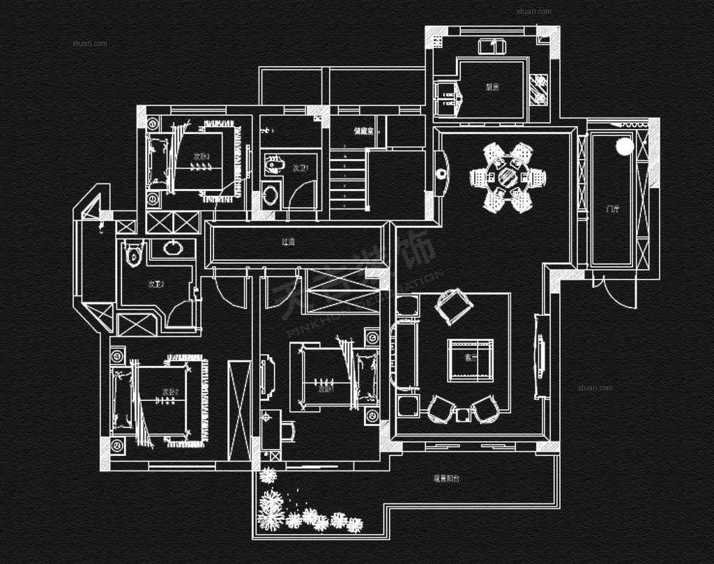 客厅电路走线图