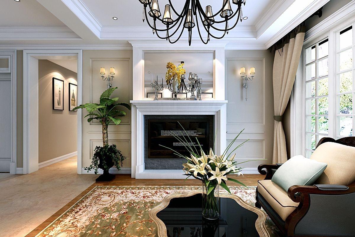 三居室欧式风格客厅_山水装饰集团祥源城126平方欧式