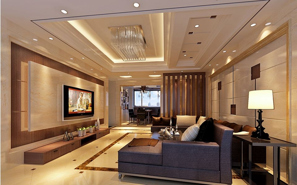 三室两厅现代风格客厅电视背景墙