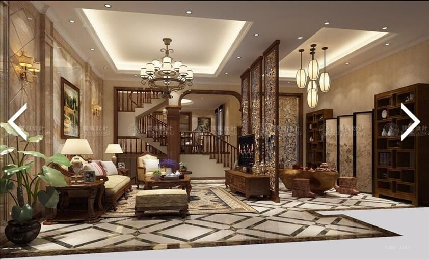 别墅美式风格客厅_南郊中华园别墅美式风格最新设计图