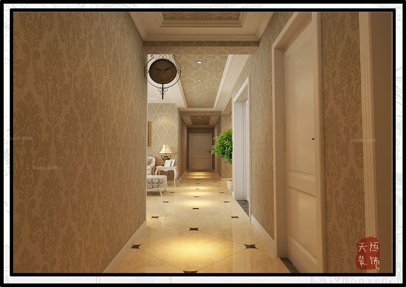 四居室简欧风格过道图片