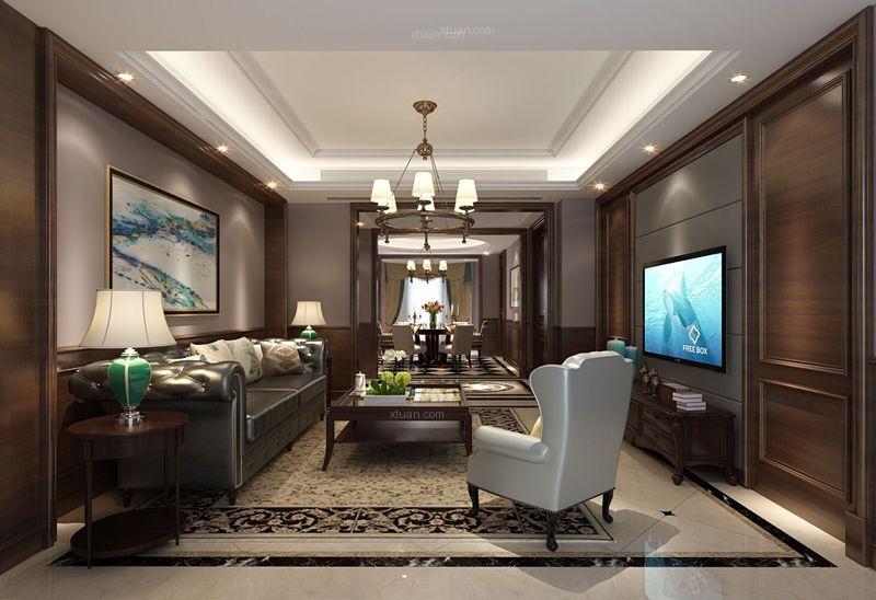 大户型美式风格客厅_金域中央装修效果图-x团装修网图片