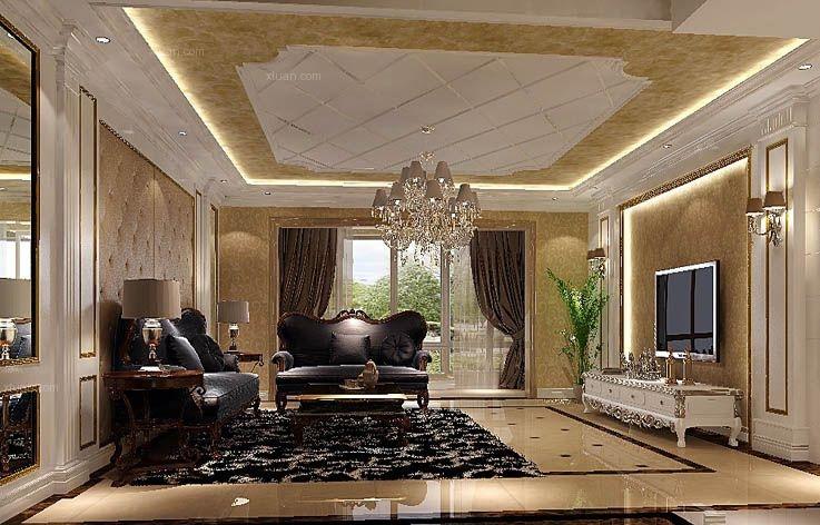 四居室欧式风格客厅_华侨城欧式风格装修效果图-x团