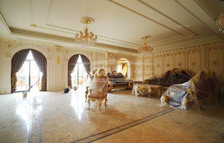 别墅法式风格客厅沙发背景墙_南山独栋别墅案例装修图片
