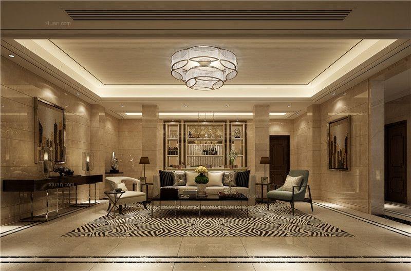 别墅现代简约客厅软装