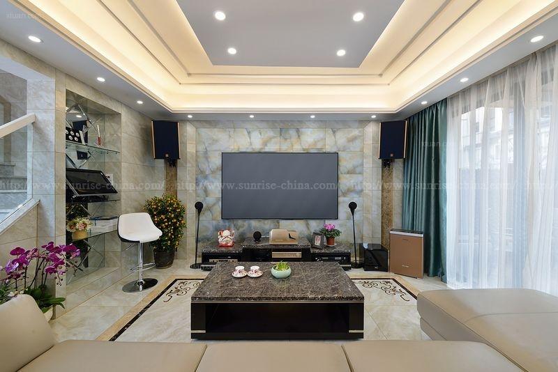 联排别墅现代简约客厅电视背景墙