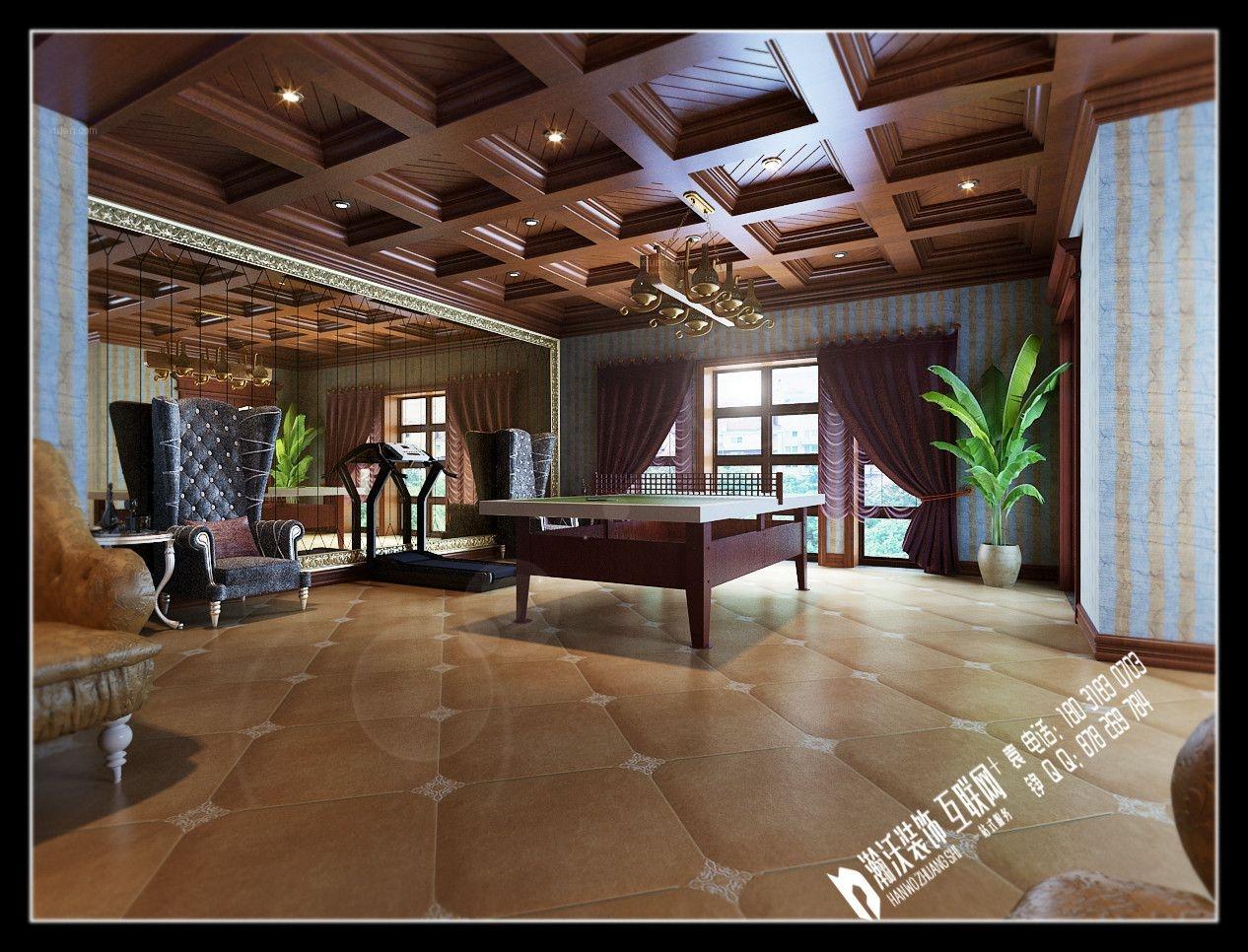 别墅美式风格地下室_西山御园美式案例装修效果图-x团图片